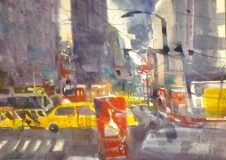 9th Avenue New York - Aquarell von Andreas Mattern
