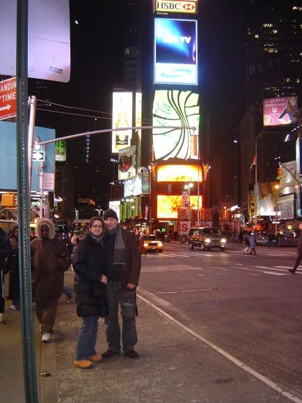 Ich bei Nacht auf dem Broadway