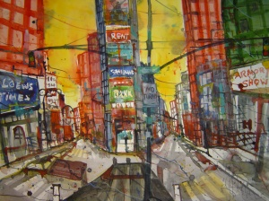 New York Broadway - Aquarell von Andreas Mattern - 56 x 76 cm