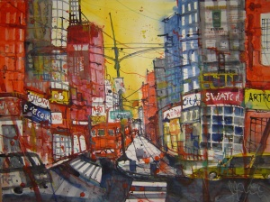New York - 9th Avenue - Aquarell von Andreas Mattern - 56 x 76 cm