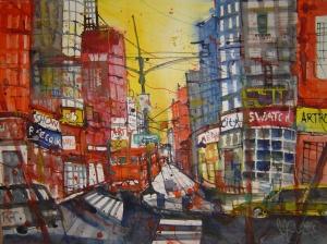 New York - 9th Avenue - Aquarell von Andreas Mattern - 56 x 76 cm