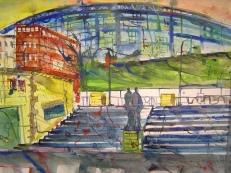 Stadion in Leipzig - Aquarell von Andreas Mattern