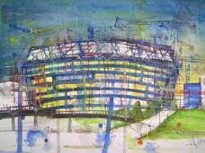 Allianz Arena München - Aquarell von Andreas Mattern