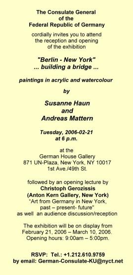 Einladung 2006 zur Ausstellung im Deutschen Konsulat