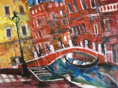 Kanal in Venedig - Aquarell von Andreas Mattern - 56 x 76 cm
