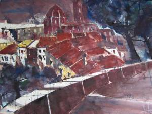 Volterra - Aquarell von Andreas Mattern - 56 x 76 cm