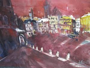 Siena - Aquarell von Andreas Mattern - 56 x 76 cm