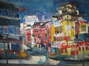 Chinatown New York - Aquarell von Andreas Mattern