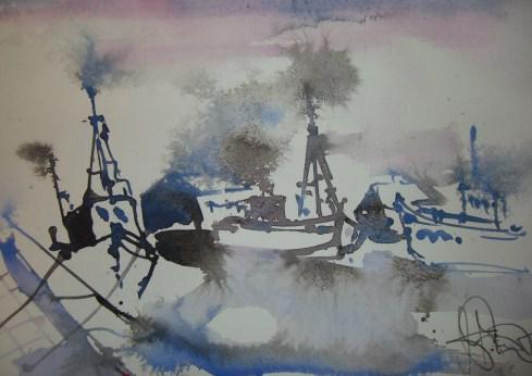 Boote in Hamburg - Aquarell von Andreas Mattern - 30 x 40 cm