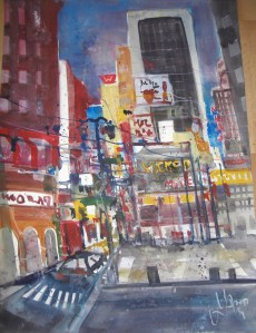 9th Avenue New York - Aquarell von Andreas Mattern - 76 x 56 cm