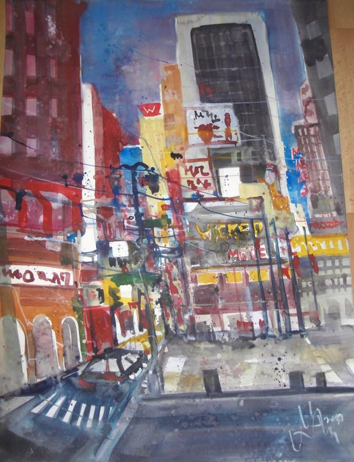 9th Avenue New York - Aquarell von Andreas Mattern - 76 x 56 cm