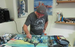 Arbeit am Aquarells Bansin