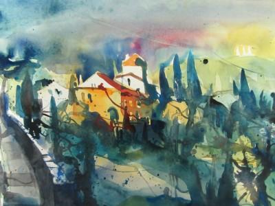 Toskana - Aquarell von Andreas Mattern - 38 x 56 cm