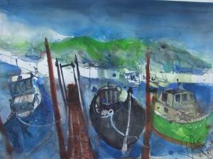 Drei Boote auf Usedom - Aquarell von Andreas Mattern - 56 x 76 cm
