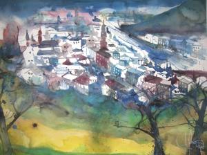 Blick vom Scheffelberg - Aqaurell von Andreas Mattern - 56 x 76 cm - Aqaurell auf Bütten