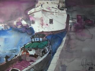 Hamburger Hafen - Aquarell von Andreas Mattern - 56 x 76 cm