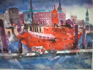 Feuerwehrschiff Hamburg - Aquarell von Andreas Mattern - 56 x 76 cm