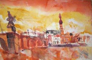 Heidelberg, alte Brücke - Aquarell von Andreas Mattern - 38 x 56 cm