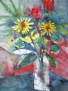 Sommerstrauß - Aquarell von Andreas Mattern - 76 x 56 cm