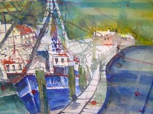 Das Boot Leon - Aquarell von Andreas Mattern - 38 x 56 cm