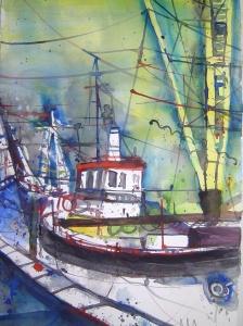 Boote im Hafen - Aquarell von Andreas Mattern - 38 x 56 cm