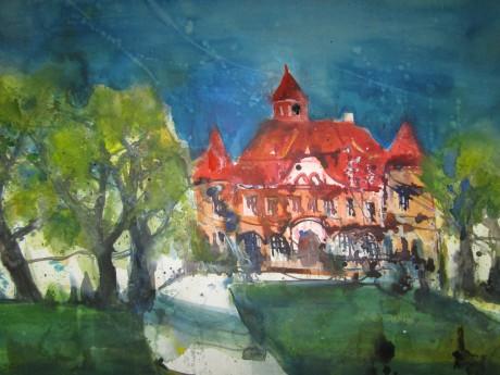 Schloss Stolpe auf Usedom - Aquarell von Andreas Mattern