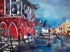 Pescheria Venedig - Aquarell von Andreas Mattern - 56 x 76 cm - Aquarell auf Bütten