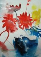 Entstehung Aquarell BLumen von Andreas Mattern - 30 x 20 cm