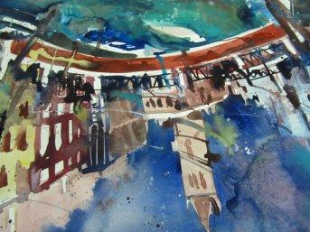 Entstehung Aquarell Venedig San Barnabas von Andreas Mattern