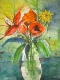 Blumen in weißer Vase - Aquarell von Andreas Mattern, 2005, 76 x 56 cm