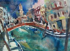 Aquarell Venedig San Barnabas von Andreas Mattern - 56 x 76 cm