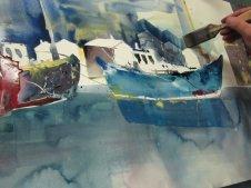 Entstehung Boote Aquarell von Andreas Mattern Teil 2