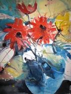 Blumen in blauer Vase - Aquarell von Andreas Mattern - 40 x 30 cm