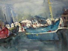 Entstehung Boote Aquarell von Andreas Mattern Teil 5