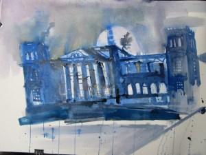 Entstehung Aquarell Reichstag von Andreas Mattern