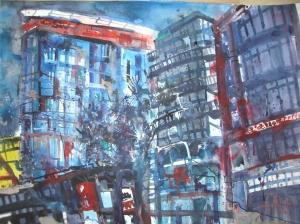 Rudi Dutschke Straße - Aquarell von Andreas Mattern - 2008 - 56 x 76 cm