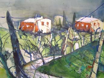 Toskana - Blick aus dem Ferienhaus 2005 - Aquarell von Andreas Mattern