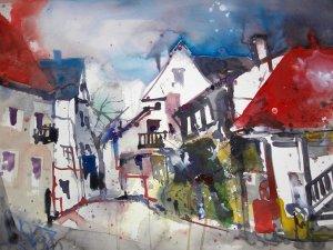 Dorf - Aquarell von Andreas Mattern - 38 x 56 cm