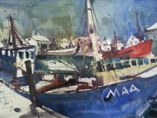 Blaues Boot - Aquarell von Andreas Mattern - 30 x 40 cm