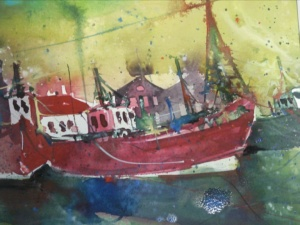 Gelbe Boote - Aquarell von Andreas Mattern