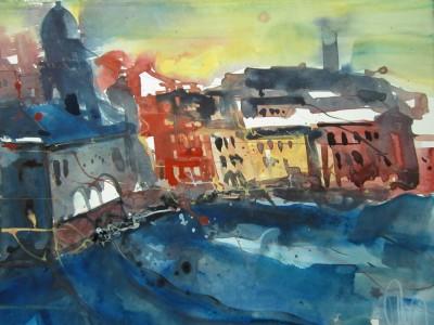 Cinque Terre, Italien - Aquarell von Andreas Mattern - 20 x 30 cm