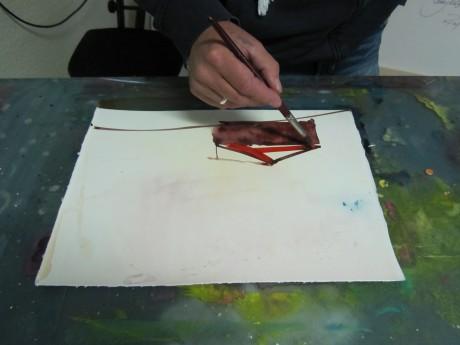 Entstehung Aquarell Toskana von Andreas Mattern