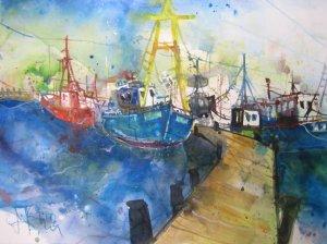 Boote - Aquarell von Andreas Mattern - 38 x 56 cm