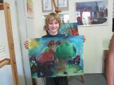 Leon Mattern mit seinem Aquarell Dorf