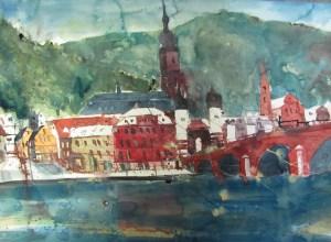 Heidelberg alte Brücke - Aquarell von Andreas Mattern - 56 x 76 cm - Aquarell auf Bütten