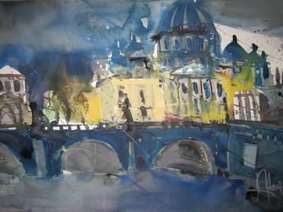 Berliner Dom von der Spree aus - Aquarell von Andreas Mattern - 38 x 56 c,
