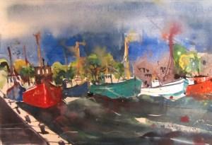 Ein rotes und ein blaues Boot - Aquarell von Andreas Mattern - 38 - 56 cm