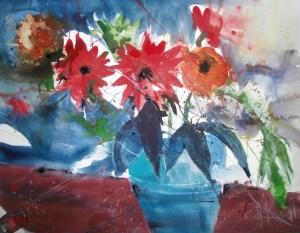 Rote Blumen in türkiser Vase - Aquarell von Andreas Mattern - 56 x 76 cm