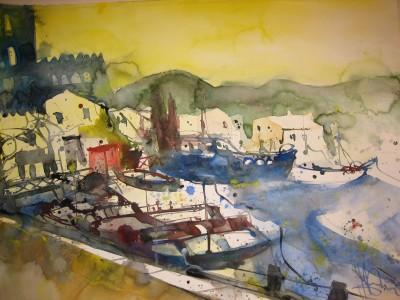 Türkei,Marmaris-Boote - Aquarell von Andreas Mattern - 2006, 56 x 78 cm