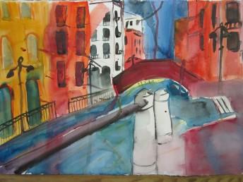 Aquarell Venedig von meiner Schülerin Petra Bauer